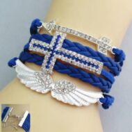 Kereszt, nyíl és szárny mintás barátság karkötő - Kék