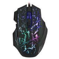 Vezetékes színes LEDes 7 gombos max 3200dpi optikai gamer egér - Fekete
