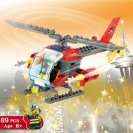 LOZ tűzoltó helikopter legó szett 89 darabos - Piros