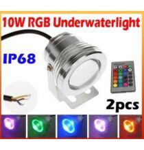 10W RGB LED Vízalatti IP68 16 színben váltakozó távirányítható lámpaszett! (2 db) medencékhez és szökőkutakhoz!