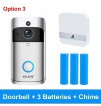EKEN V5 Vezetéknélküli WiFi Biztonsági Videó Ajtó Csengő + 3 Akkumulátor + Beltéri Egység