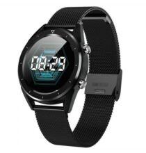 DT28 Férfi intelligens óra IP68 vízálló EKG pulzusmérő Fitness Tracker - Fekete Szíjjal