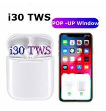 I30 TWS Vezetéknélküli Bluetooth Fülhallgató Mikrofonnal és Töltőtokkal - Fehér