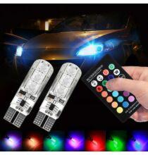 T10 5050 SMD RGB Autós Világítás Távirányítóval - 2db.