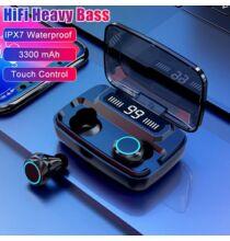 Vezetéknélküli IP7X Vízálló True Wirelless Bluetooth Fülhallgató - Fekete