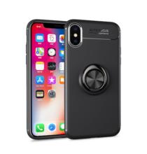 ASLING Metal Ring TPU Mobiltelefon Védőtok iPhone XS MAX - Fekete