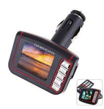 Autó szivargyújtós 1.8 LCD MP3 MP4 FM Transmitter távirányítóval - Fekete