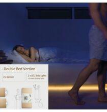 Kreatív i-light okos LED éjjeli lámpa intelligens IR mozgásérzékelős fényvezérléssel franciaágyhoz -Meleg fehér