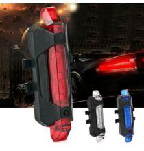 Beépített akkus LEDes kerékpár hátsó lámpa USB csatlakozóval - Piros