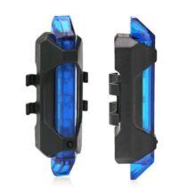 Beépített akkus LEDes kerékpár hátsó lámpa USB csatlakozóval - Kék