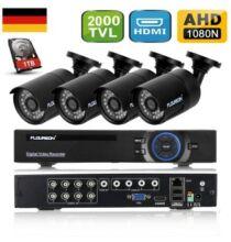 EU ECO Raktár - FLOUREON 1 X 8CH 1080N AHD DVR Rögzítő egység + 4 X Kültéri 2000TVL 960P 1.3 MP Biztonsági Kamera 1 TB Merevlemezzel