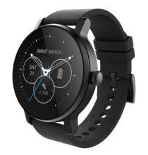 EU ECO Raktár - SMA - 09 Bluetooth 4.0 okosóra bőr szíjjal - Fekete