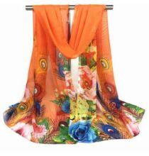 Pávatollas és virágmintás sál - Narancs