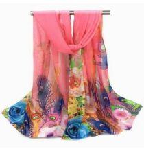 Pávatollas és virágmintás sál - Pink