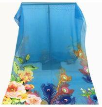 Pávatollas és virágmintás sál - Kék