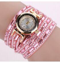 Karkötő stílusú gyémántköves női Quartz karóra - Pink