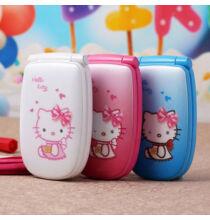 EU ECO Raktár - W88 P473 Hello Kitty mintás kinyitható 1.2 inch-es mobiltelefon - Pink