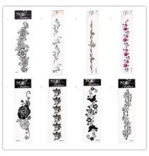 Virág, pillangó, szitakötő mintájú tetoválás matrica 8db - Fekete, színes