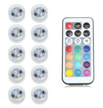 Vízálló RGB LED teamécses távirányítóval 10db - RGB színek