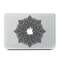 Egyedi virágmintás MacBook matrica -Fekete