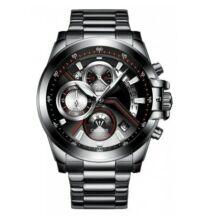 C9016 sportos divatos quartz férfi karóra (CN)  - Fekete ezüst szíjjal
