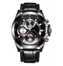 C9016 sportos divatos quartz férfi karóra (CN)  - Fekete bőr szijjal