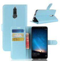 Huawei Mate 10 Lite licsi mintás bőr védőtok - Kék