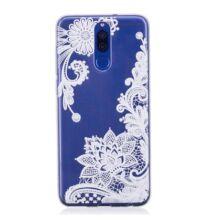 Huawei Mate 10 Lite festett fehér rózsa mintás védőtok - Átlátszó