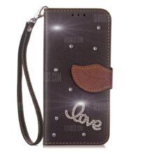 HOMTOM HT50 pénztárca stílusú védőtok - Gyémántos (HK2) - Fekete