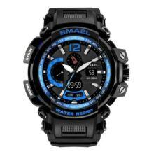 SMAEL 1702 Multifunkcionális Vízálló Elegáns LED Kvarc Sport óra Ébresztőóra funkcióval - Kék/fekete színben