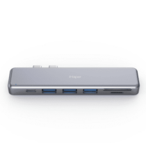 EU ECO Raktár - iHaper C001 All-in-one Multiport Dual USB-C Elosztó Thunderbolt 3 / 3 USB 3.0 Ports / Micro SD / SD Kártya olvasó funkcióval