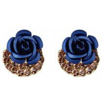 Aranyozott Rózsa Fülbevaló - Kék