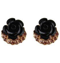 Aranyozott Rózsa Fülbevaló - Fekete