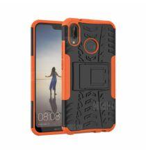 Huawei P20 Lite / Nova 3E szilikon és műanyag hátlapvédő tok kitámasztóval (HK2) - Narancs