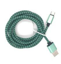 USB Type-C adatkábel Gyorstöltéssel - Zöld (3m)