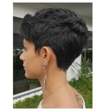 Rövid természetes egyenes emberi haj paróka 23cm hosszal - Fekete