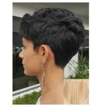 EU ECO Raktár - Rövid természetes egyenes emberi haj paróka 23cm hosszal - Szőke