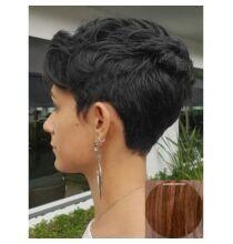 EU ECO Raktár - Rövid természetes egyenes emberi haj paróka 23cm hosszal - Barna