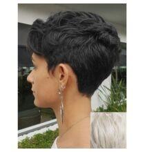 EU ECO Raktár - Rövid természetes egyenes emberi haj paróka 23cm hosszal - Fehér