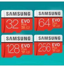 Samsung EVO Plus microSD Kártya Piros színben 128 GB Tárhellyel