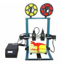 EU ECO Raktár - TL - D3 Kettős Fúvókával 3D Nyomtató 300 x 300 x 400mm Nyomtatási Felülettel - Fekete