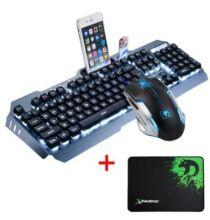 USB Gamer RGB Billentyűzet + Egér + Egérpad Szett - Ezüst