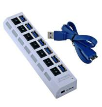 7 portos USB 3.0 Elosztó 5Gbps Nagysebességű Adatátvitellel Fehér színben