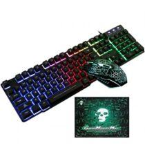 USB Vezetékes Gamer Billentyűzet és Egér Ajándék Egérpáaddal - Fekete