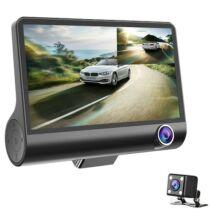 3 Lens WDR Autós Menetrögzítő DASH Kamera 170 Fokos Látószöggel - Fekete