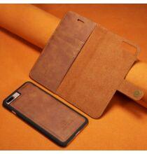 Mágneses Okostelefon Védő Bőrtok iPhone 7 Plus / 8 Plus Készülékre - Barna