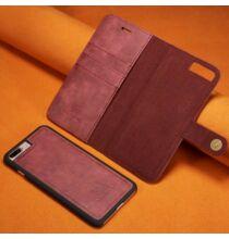 Mágneses Okostelefon Védő Bőrtok iPhone 7 Plus / 8 Plus Készülékre - Bordó