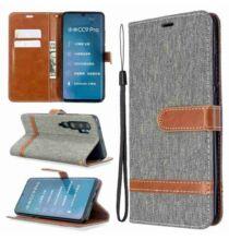 Oldalra Kihajtható FLIP Tok Denim PU Phone Case for Xiaomi CC9 Pro / Note10 / Note10 Pro Készülékre - Szürke