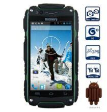 "EU ECO Raktár - Discovery V8 4.0"" WVGA Android 4.4 MTK6572 Strapabíró 3G Okostelefon - Katonai zöld"