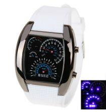 LED Car Watch Kék fény szilikon óraszíj unisex - Fehér